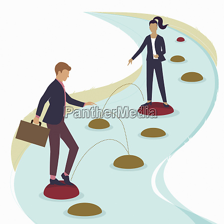 businesswoman helping colleague choose path over