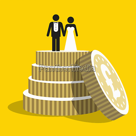pound coins as tiers of wedding