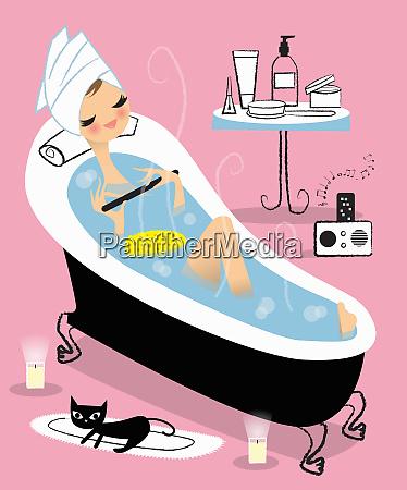 frau entspannt im bad