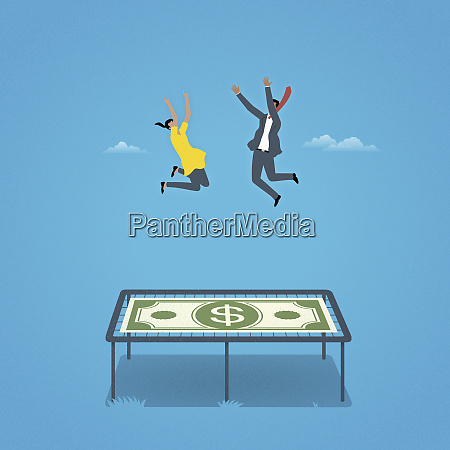 businessman and businesswoman bouncing on dollar