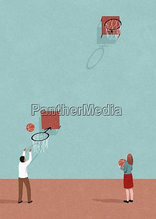kontrast zwischen niedrigem maennlichen basketballkorb und