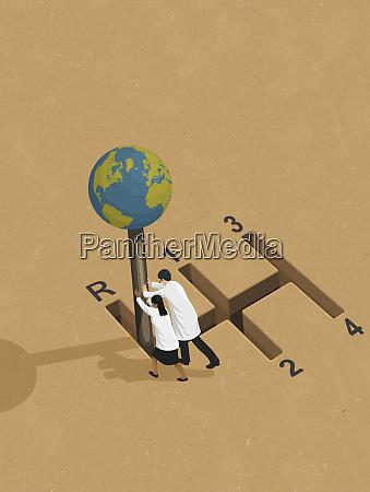 wissenschaftler schieben globus getriebe in den