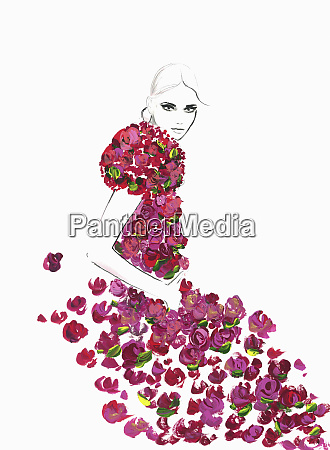 fashion illustration of woman wearing rose
