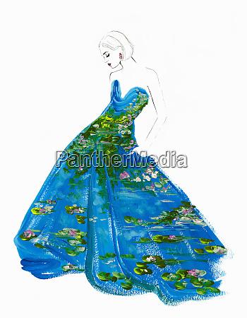 fashion illustration of woman wearing water