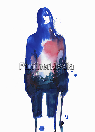 blurry blue watercolour sketch of young