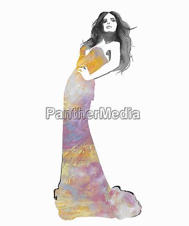 fashion illustration of model posing in