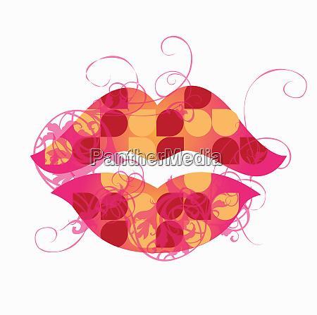 nahaufnahme von retro gemusterten lippen