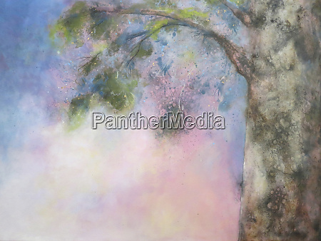 painting of tree branch against pink