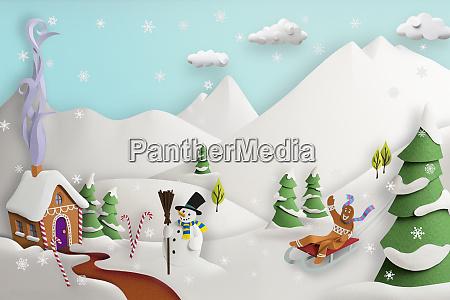 papierskulptur aus niedlichen lebkuchenhaus im schnee
