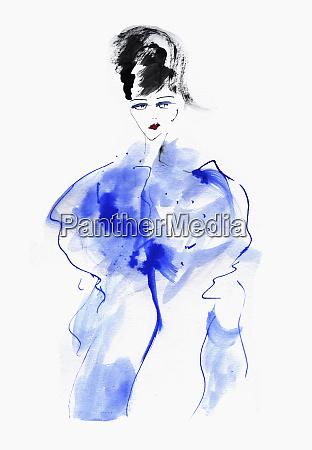 mode illustration der frau in blau