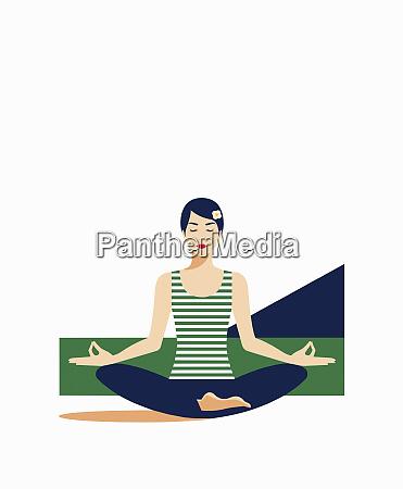 frau meditiert in lotusposition