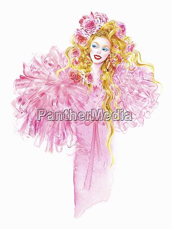 mode model in rosa abendkleid mit