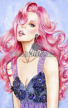 glamouroese frau mit langen rosa haaren