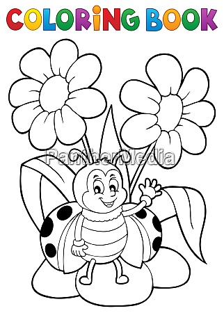 coloring book flower and happy ladybug
