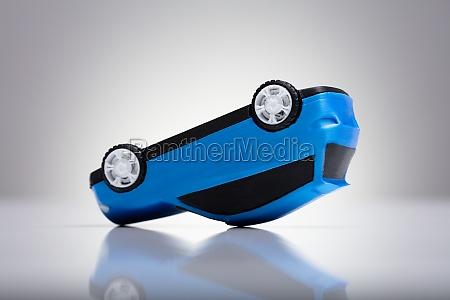 close up of a blue car