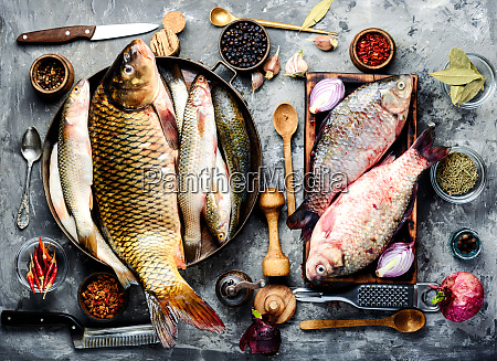 fresh fish and ingredients