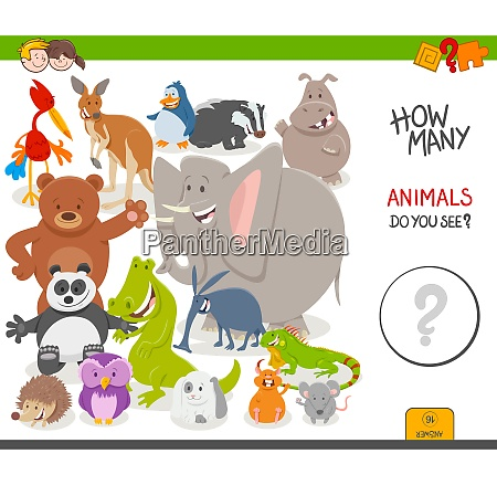 count the animals educational game for