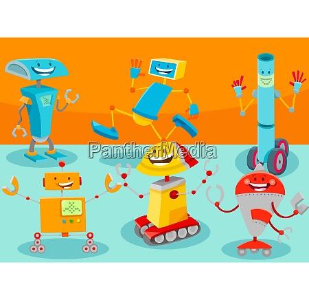 happy robot cartoon characters group