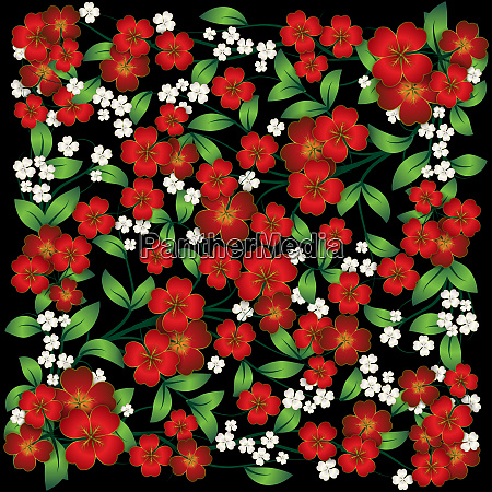 abstract floral ornament on black background