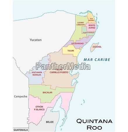 quintana roo administrative und politische vektorkarte