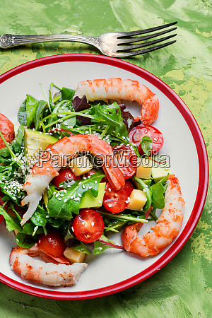 spring salad with seafood