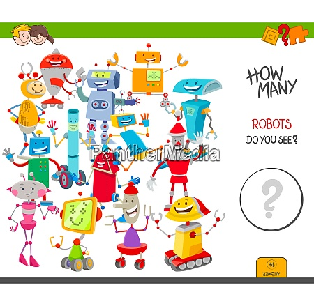 counting cartoon robots educational game