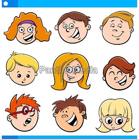 kinder oder teens zeichentrickfiguren set