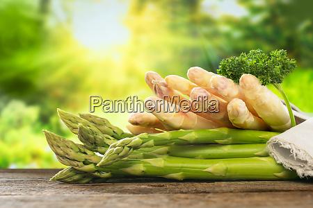 asparagus on rustic wood
