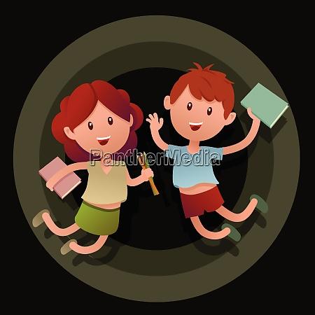 two happy school children