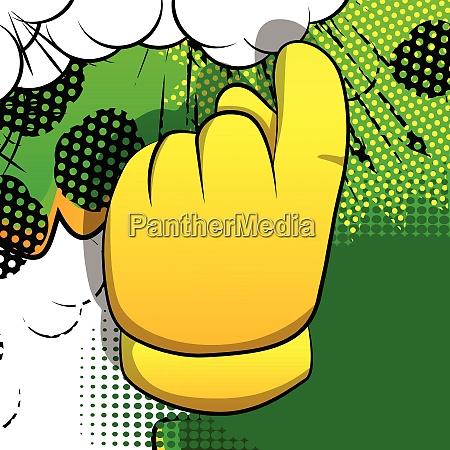vektor cartoon hand zeigt einladung zeichen