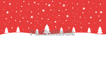 red christmas background card with winter