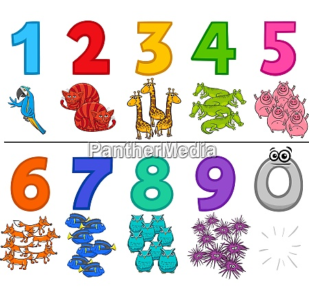 educational cartoon numbers set with animals