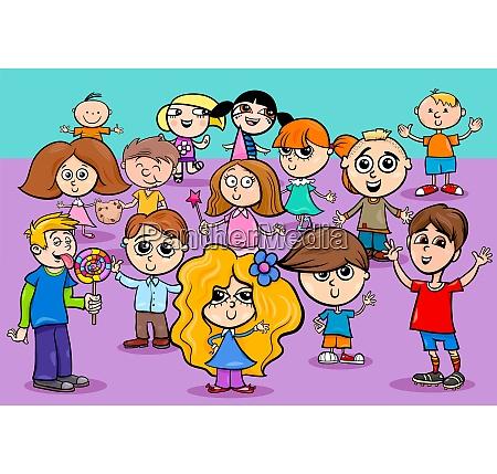 glueckliche kinder zeichentrickfiguren gruppe