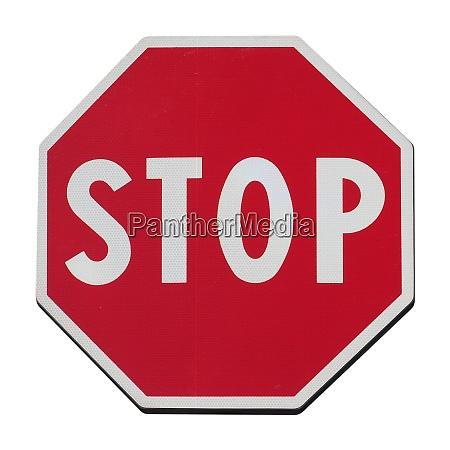 stoppschild isoliert ueber weiss