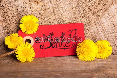 red label dandelion calligraphy danke means