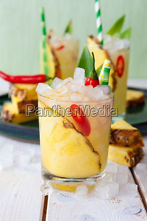 colorful cocktail with fresh pineapple
