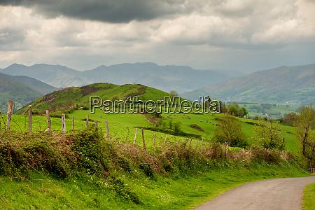 landscape of pays basque green hills