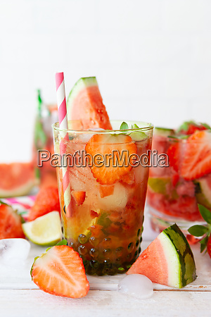 delicious lemonade with strawberries