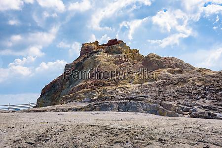 yellow sulfur rock on vulcano island