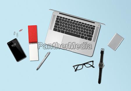 büro, schreibtisch, mockup, top-ansicht, isoliert, auf - 26891618