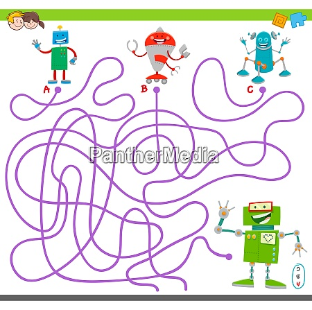 maze game with happy robot characters