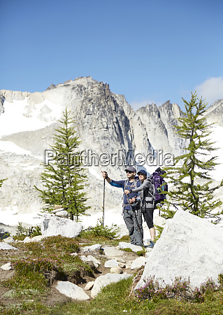 couple hiking in remote mountains