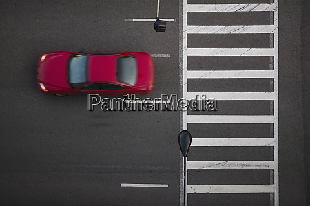 high angle view of car driving