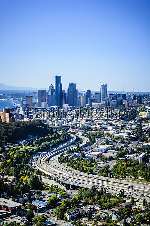 aerial view of highway and seattle
