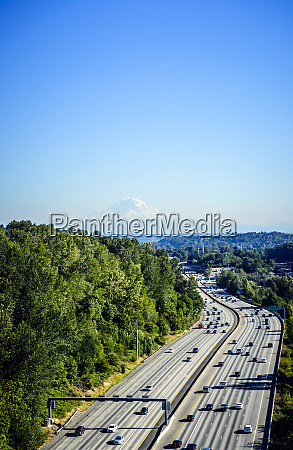aerial view of mount rainier and