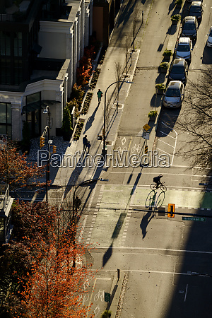 high angle view of bicyclist in