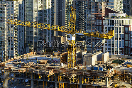high angle view of crane building