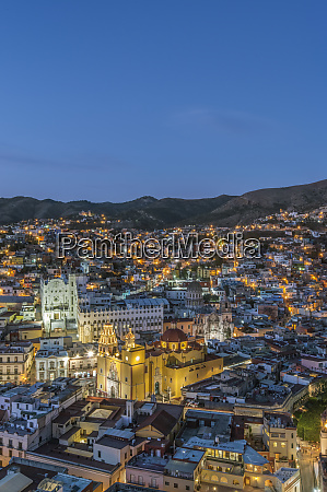 aerial view of guanajuato cityscape lit