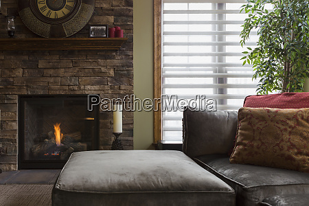 sofa and fireplace in living room