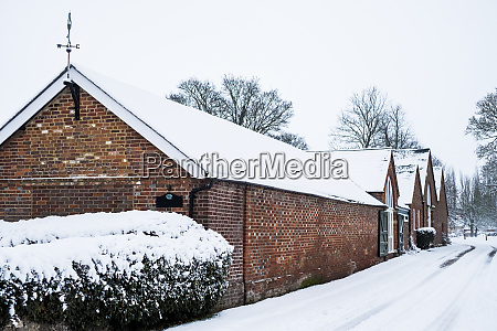 exterior view of red brick cottages
